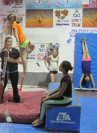 girls performing recreational gymnastics