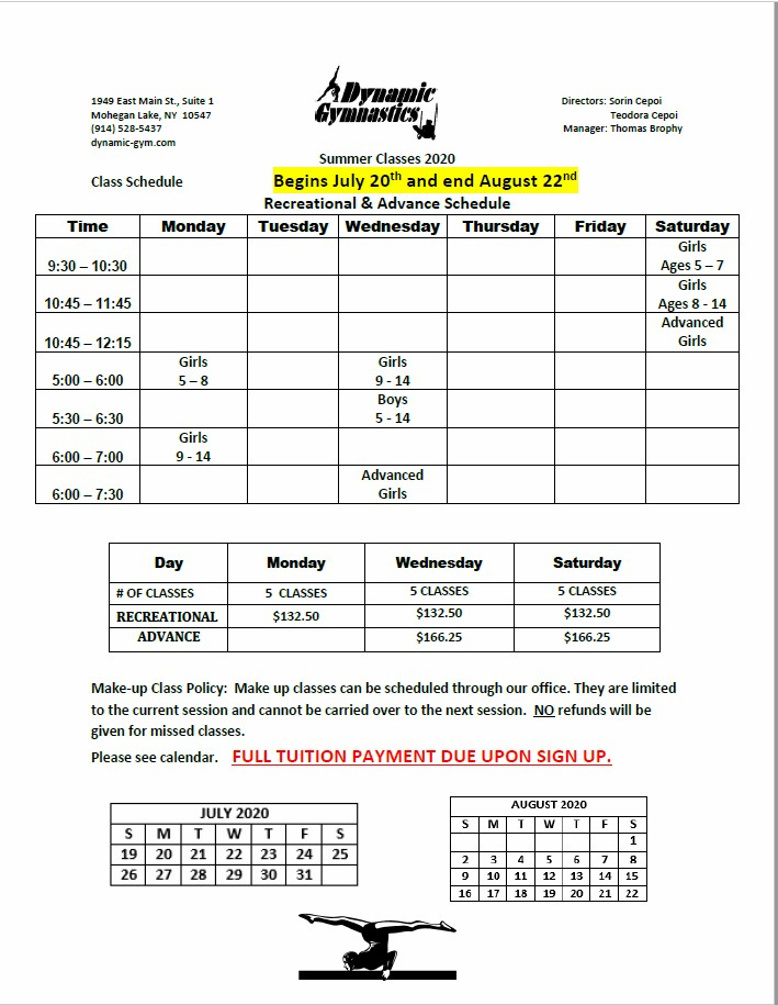 2020 Dynamic Gymnastics Summer Session Schedule & Tuition